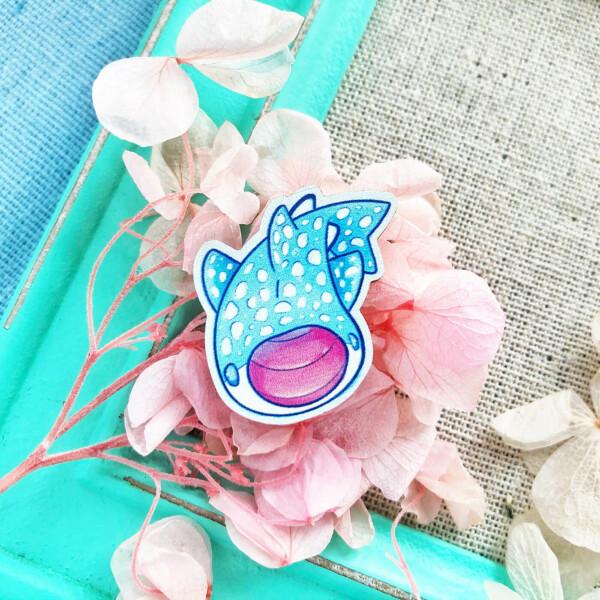 Kawaii Whale Shark pin badge by Evy Benita