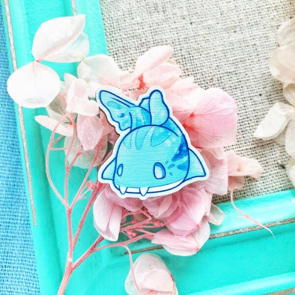 Cute chibi Pyjama Shark wooden pin badge by Evy Benita