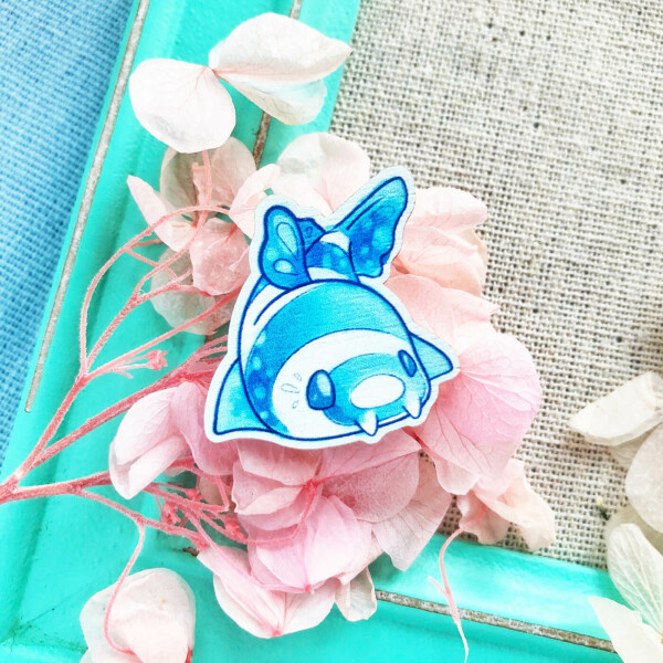 Kawaii Bamboo Shark pin badge by Evy Benita. Lovely and playful aesthetic.