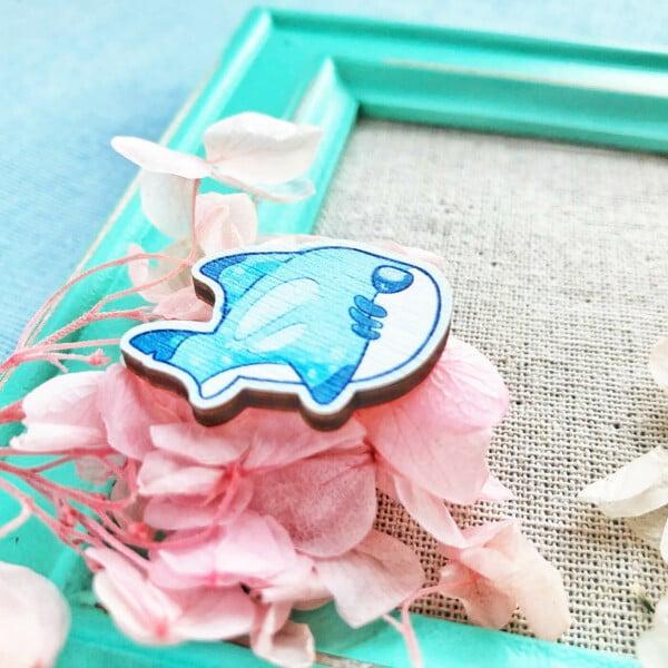 Cute chibi Black Tip Shark wooden pin badge by Evy Benita