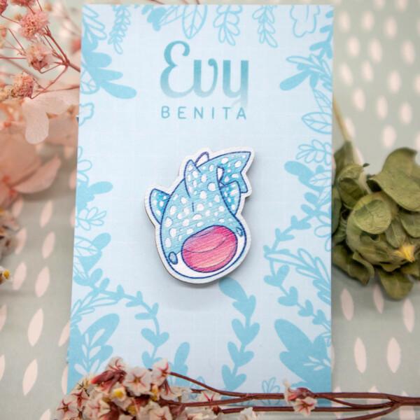 Cute chibi Whale Shark wooden pin badge by Evy Benita