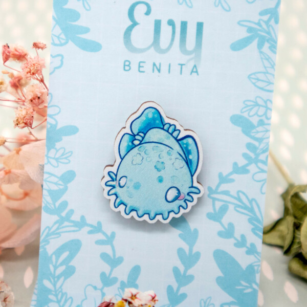 Cute chibi Wobbegong Shark wooden pin badge by Evy Benita