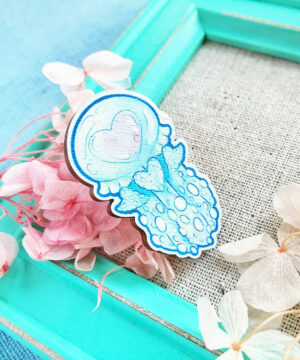 Pastel Lagoon Jellyfish wooden pin badge by Evy Benita