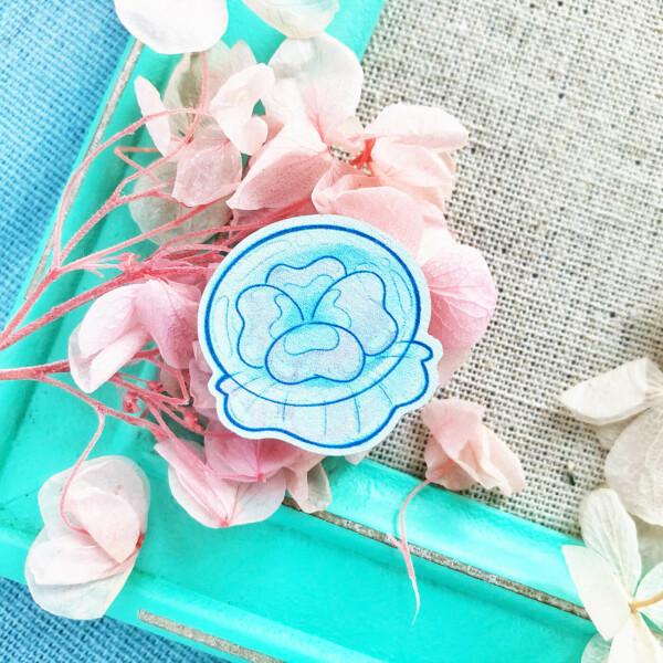 Pastel Moon Jellyfish wooden pin badge by Evy Benita