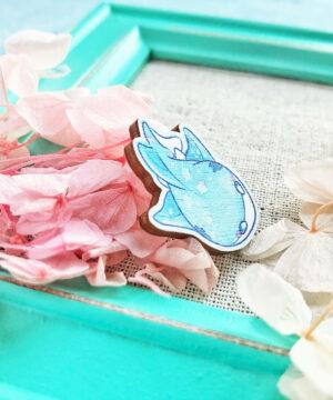 Starry Zambesi Bull Shark wooden pin badge by Evy Benita