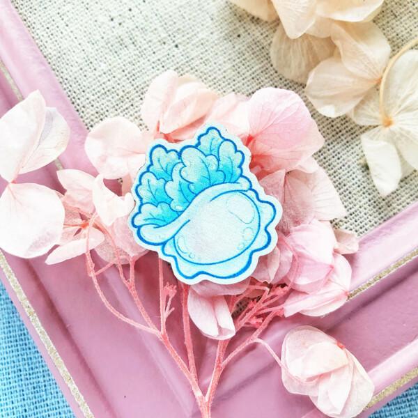 Upside Down Jellyfish wooden pin badge by Evy Benita