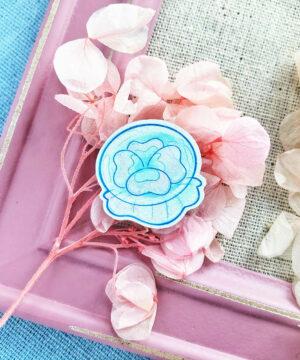 Moon Jellyfish wooden pin badge by Evy Benita