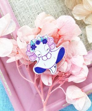 Lottie the Lotl Floral Spirits Wooden Pin