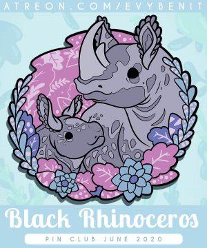 Blac rhinoceros hard enamel pin with black nickel plating.