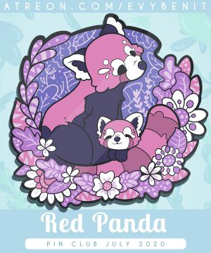 Black nickel plated red panda enamel pin, made with hard enamel and screen printed details. By Evy Benita.