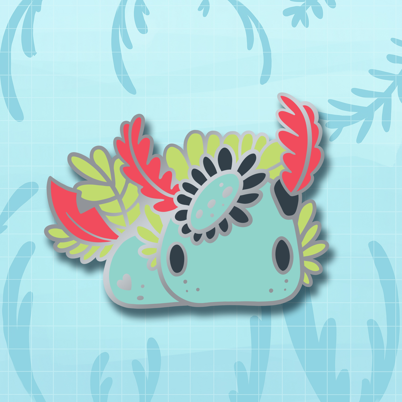 Rainbow jorunna nudibranch enamel pin by Evy Benita