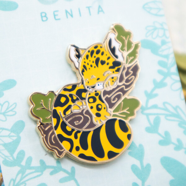 Amur Leopard Baby Cub Enamel Pin by Evy Benita