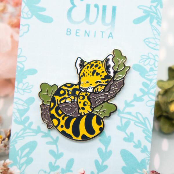 Amur Leopard Cub Enamel Pin by Evy Benita