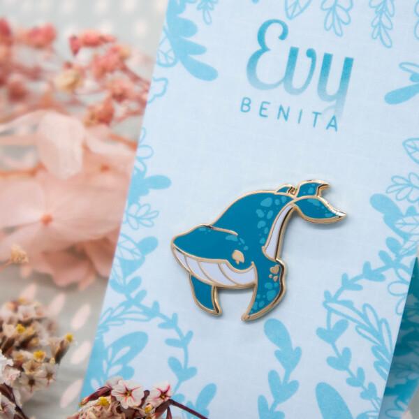 Blue Whale Hard Enamel Pin by Evy Benita