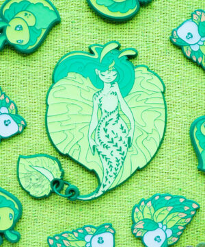 "Vibrant ""seaweed"" green enamel pins by Evy Benita"