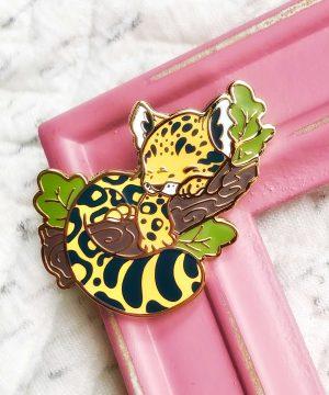 Amur leopard enamel pin