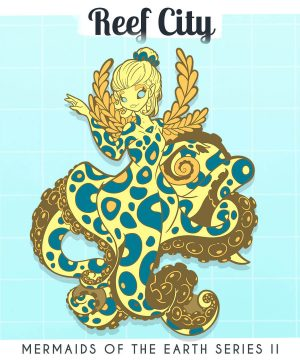 A visual mockup of a cartoon-style mermaid enamel pin, inspired by the Blue Ringed Octopus. By Evy Benita.