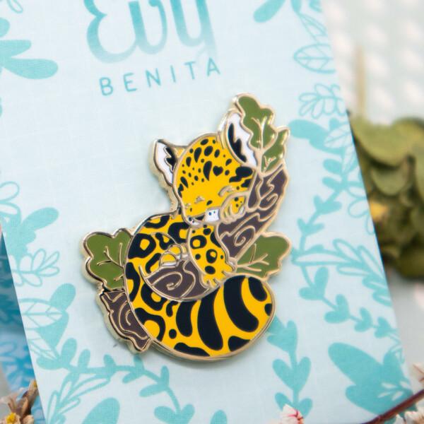 Yellow Amur Leopard Cub Enamel Pin by Evy Benita