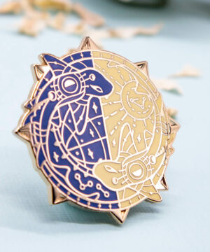 """Gold plated star chart enamel pin with catsharks - Evy Benita's """"Moon"""" - a Patreon enamel pin club collection"""
