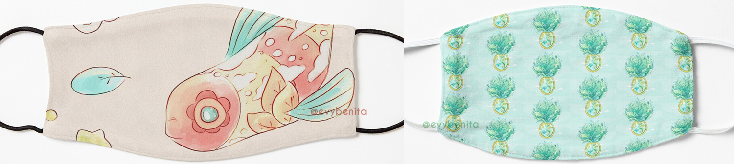 Two face mask designs side by side: one child sized and one adult sized. One face mask has a repeating pattern of a fantasy-inspired sea turtle terrarium. The other face mask has an illustration of a goby fish decorated by clouds, leaves and vibrant colors. All illustrated by Evy Benita.