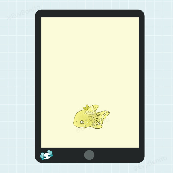 Cute illustrated cartoon-style lemon shark wallpaper for mobile phones