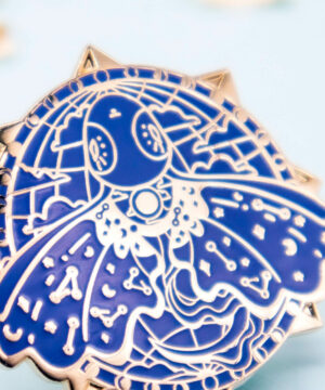 A beautiful enamel pin with hard enamel and raised outlines in gold plating. The enamel pin features a stylised Mariana Trench Snailfish: one of the deepest living fish known to man. The gold plating compliments the blue enamel well, giving this enamel pin a lovely explorer aesthetic.