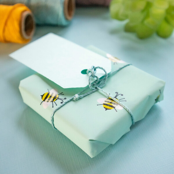 Shows a box wrapped with eco friendly gift wrapping paper. The gift wrap has a light teal blue color to it, decorated by stylised bee illustrations. The gift wrap is secured with eco friendly blue hemp string, and a blue paper gift tag is attached. The blue tag can have a gift message printed to it, but is shown without a message.