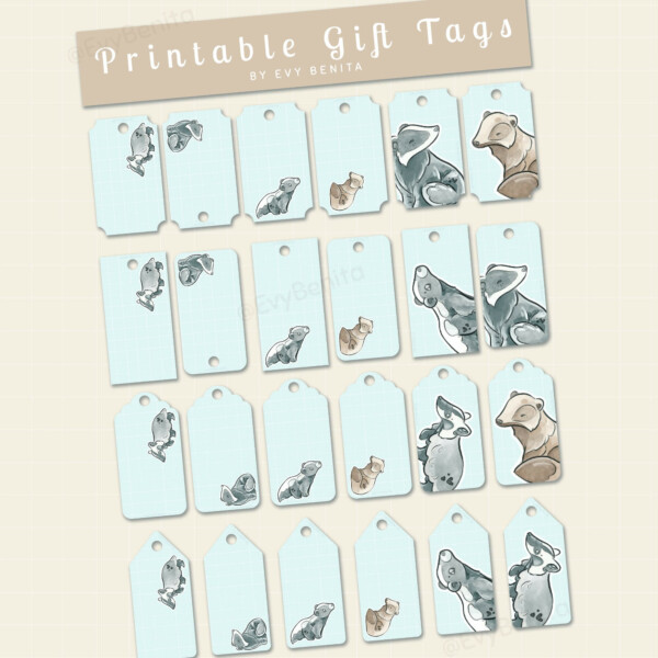 Printable gift tags decorated with cute kawaii badger species watercolor illustrations by Evy Benita