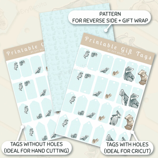 Printable gift tags and gift wrap decorated with cute kawaii badger species watercolor illustrations by Evy Benita