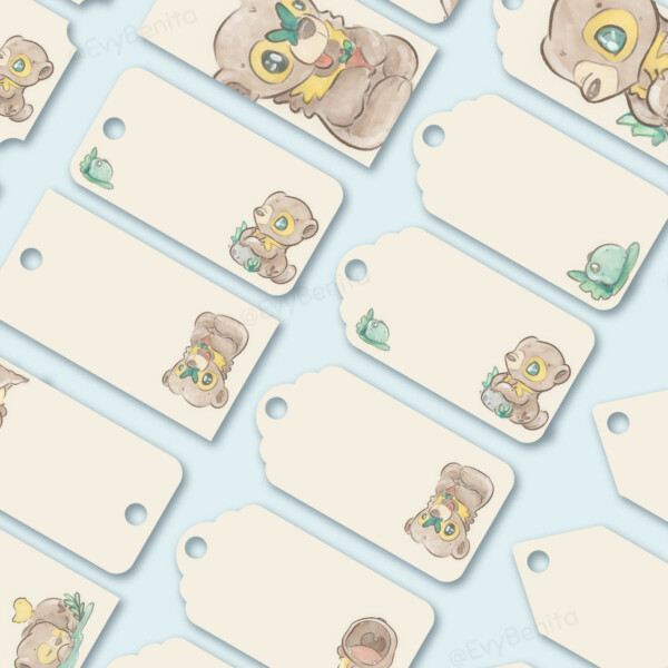 Printable gift tags decorated with cute kawaii sun bear watercolor illustrations by Evy Benita