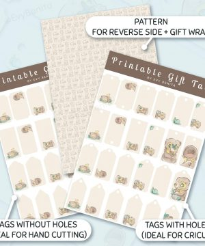 Printable gift tags and wrapping paper decorated with cute kawaii sun bear watercolor illustrations by Evy Benita