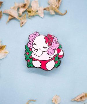 "Festive ""Lottie the Lotl"" chibi axolotl holiday stocking enamel pin in black nickel, and red and green enamel"