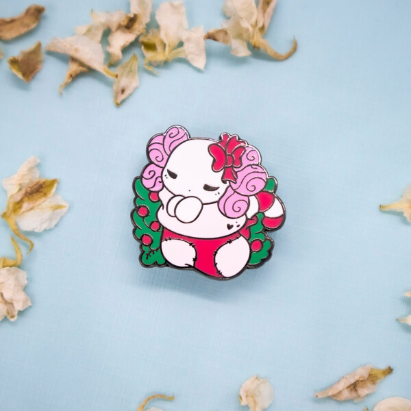 "Festive ""Lottie the Lotl"" chibi axolotl holiday stocking enamel pin in black nickel, and red and green enamel"