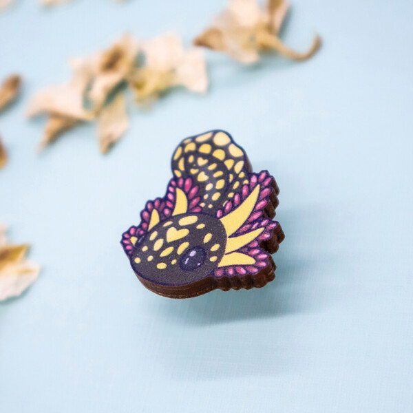 Chibi mole salamander sustainably sourced wooden pin by Evy Benita.