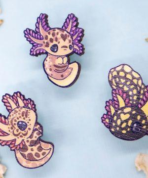 """Cute illustrated axolotl """"mole salamander"""" wooden pins by Evy Benita"""