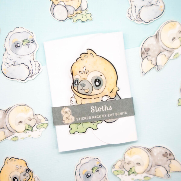 Cute chibi kawaii sloth sticker pack by Evy Benita