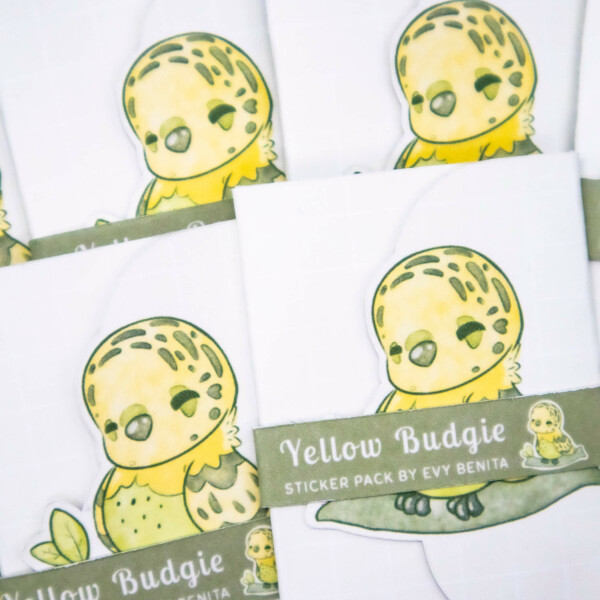Cute yellow budgie birb illustrated planner sticker packs by Evy Benita
