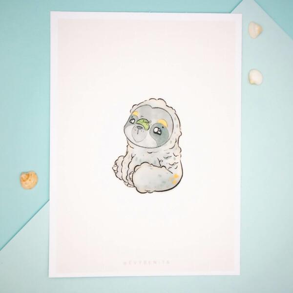 Pygmy Three-Toed Sloth Art Print