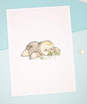 Cute chibi sloth illustration print by Evy Benita.