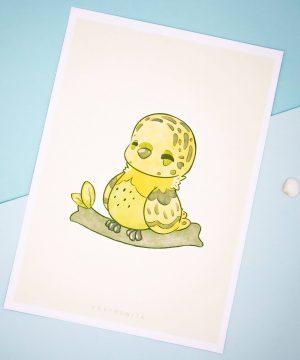 Cute yellow budgie birb illustrated art print by Evy Benita