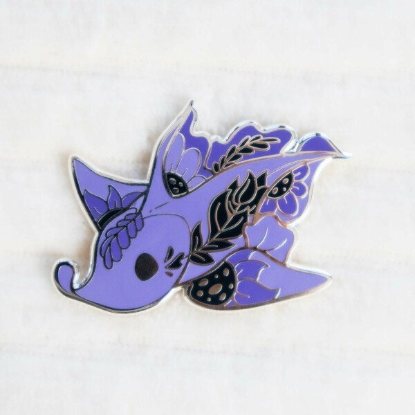 Purple Chimaera Australian Ghost Shark hard enamel pin by Evy Benita