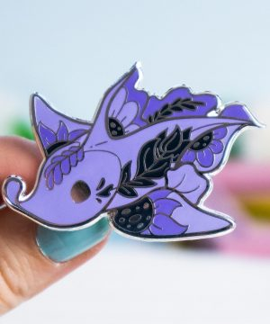 Purple Chimaera Australian Ghost Shark hard enamel pin by Evy Benita