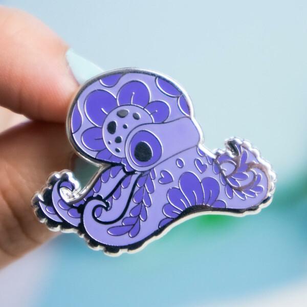 Purple ghost octopus hard enamel pin by Evy Benita