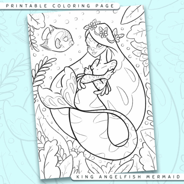 "Shows a digital mockup of the printable coloring page image file. This print-at-home coloring page features a ""king angelfish"" mermaid species accompanied by a king angelfish sidekick. The outlines are drawn with a digital ""grainy"" pencil brush."