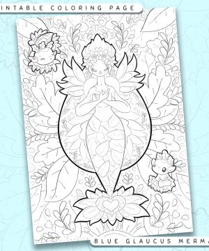 "Shows a digital mockup of the printable coloring page image file. This print-at-home coloring page features a ""blue glaucus seadragon"" mermaid species with two glaucus sidekicks. The outlines are drawn with a digital ""grainy"" pencil brush."