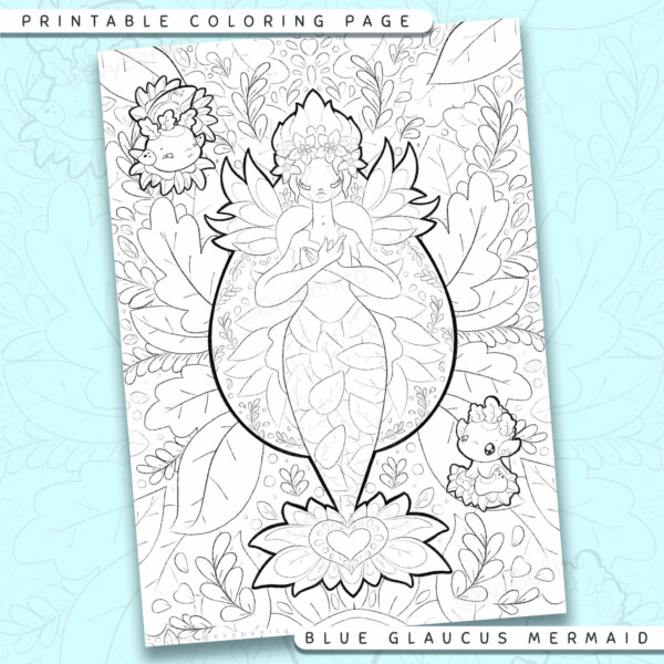 """Shows a digital mockup of the printable coloring page image file. This print-at-home coloring page features a """"blue glaucus seadragon"""" mermaid species with two glaucus sidekicks. The outlines are drawn with a digital """"grainy"""" pencil brush."""