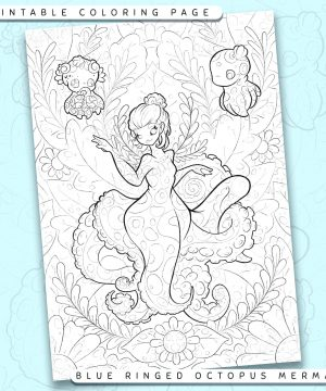 "Shows a digital mockup of the printable coloring page image file. This print-at-home coloring page features a ""blue-ringed octopus"" mermaid species. The outlines are drawn with a digital ""grainy"" pencil brush."