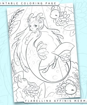 "Shows a digital mockup of the printable coloring page image file. This print-at-home coloring page features a ""flabelina affinis"" nudibranch mermaid species. The outlines are drawn with a digital ""grainy"" pencil brush."