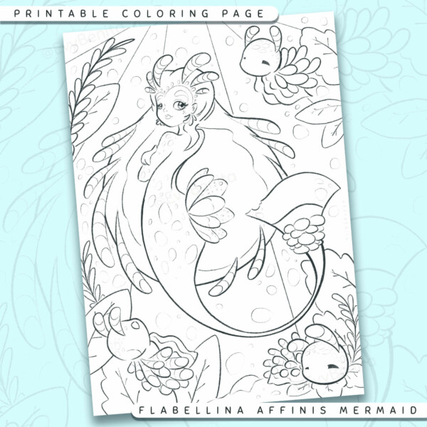 """Shows a digital mockup of the printable coloring page image file. This print-at-home coloring page features a """"flabelina affinis"""" nudibranch mermaid species. The outlines are drawn with a digital """"grainy"""" pencil brush."""