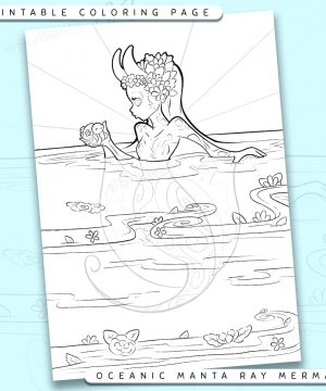 "Shows a digital mockup of the printable coloring page image file. This print-at-home coloring page features a ""giant oceanic manta ray"" mermaid species. The outlines are drawn with a digital ""grainy"" pencil brush."